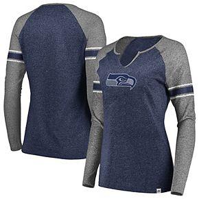 Women's Majestic College Navy/Gray Seattle Seahawks Static Notch Neck Long Sleeve Raglan T-Shirt
