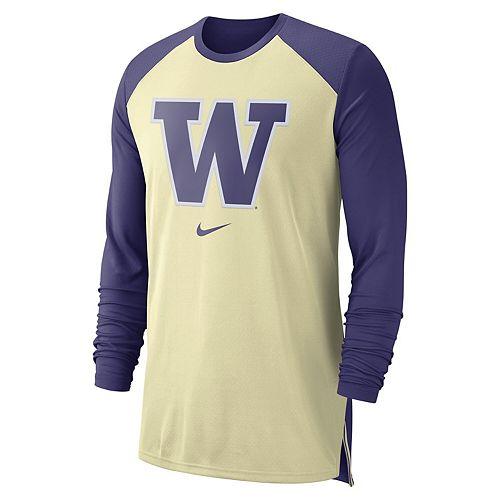 Men's Nike Gold Washington Huskies On-Court Basketball Elite Performance Long Sleeve T-Shirt