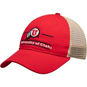 Men's The Game Red Utah Utes Split Bar Trucker Adjustable Hat
