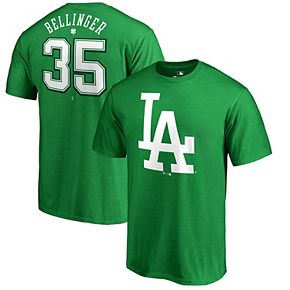 Men's Fanatics Branded Cody Bellinger Kelly Green Los Angeles Dodgers 2018 St. Patrick's Day Stack Name & Number T-Shirt