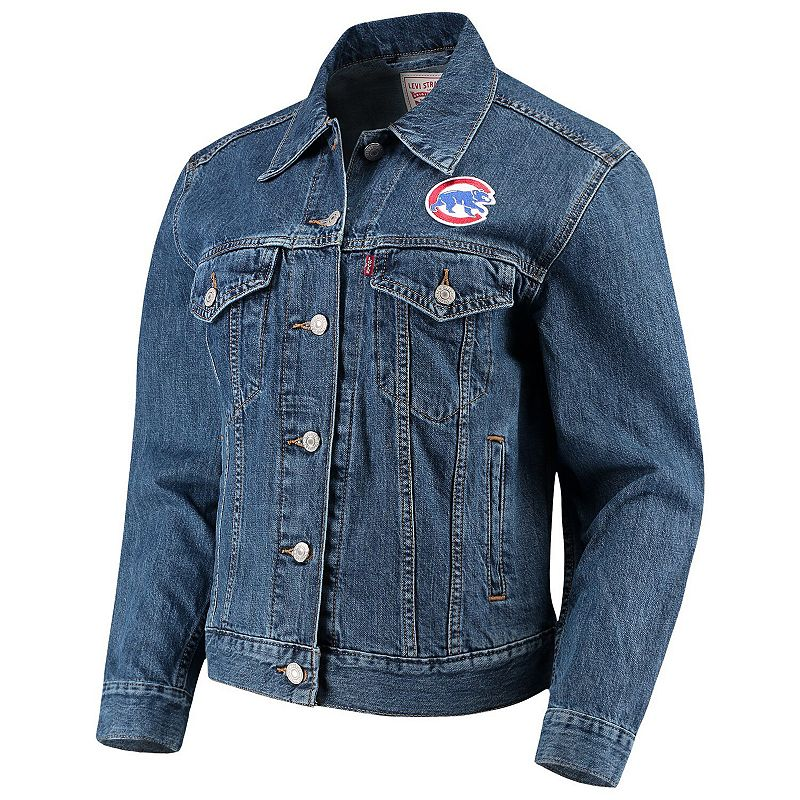 Women's Levi's Chicago Cubs Patch Trucker Denim Jacket, Size: Small, Turquoise/Blue