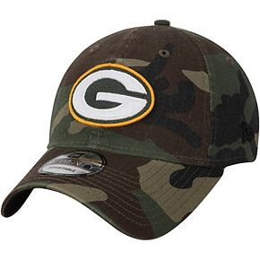 Men's New Era Woodland Camo Green Bay Packers Primary Logo Core Classic 9TWENTY Adjustable Hat