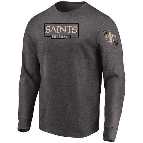 best cheap c1669 cf19f Men's Majestic Heathered Charcoal New Orleans Saints Big & Tall Kick Return  Long Sleeve T-Shirt