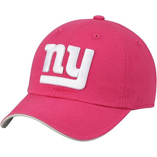 Girls Youth Pink New York Giants Primary Logo Slouch Adjustable Hat
