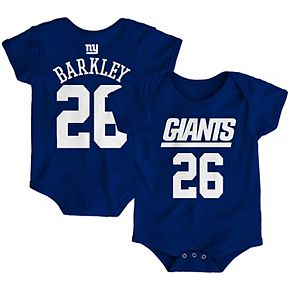 Newborn Saquon Barkley Royal New York Giants Mainliner Name & Number Bodysuit