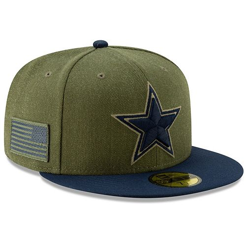 promo code 7d851 d5154 Men's New Era Olive/Navy Dallas Cowboys 2018 Salute to Service Sideline  59FIFTY Fitted Hat