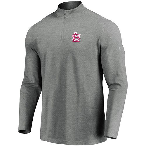 Men's Under Armour Heathered Gray St. Louis Cardinals Passion Performance Tri-Blend Quarter-Zip Pullover Jacket