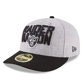 Men's New Era Heather Gray/Black Oakland Raiders 2018 NFL Draft Official On-Stage Low Profile 59FIFTY Fitted Hat