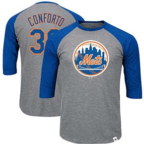 Men's Majestic Michael Conforto Heathered Gray/Royal New York Mets Big & Tall Player Raglan 3/4-Sleeve T-Shirt
