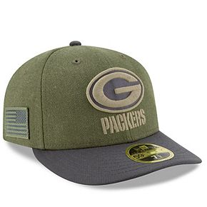 Men's New Era Olive/Gray Green Bay Packers 2018 Salute to Service Sideline Low Profile 59FIFTY Fitted Hat