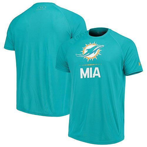 Men's Under Armour Aqua Miami Dolphins Authentic Combine Lockup Tech T-Shirt