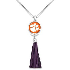 Women's Clemson Tigers Suede Tassel Statement Necklace