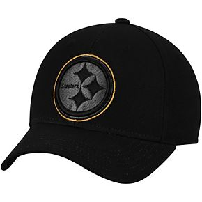 Youth Black Pittsburgh Steelers Black & White Structured Adjustable Hat