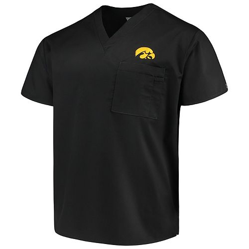 Black Iowa Hawkeyes V-Neck Scrub Top