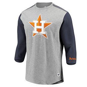 Men's Fanatics Branded Heathered Gray/Navy Houston Astros MLB Heritage Crew Neck 3/4-Sleeve T-Shirt