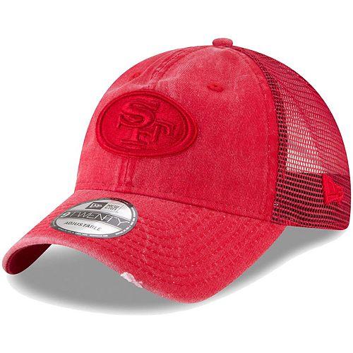 Men's New Era Scarlet San Francisco 49ers Tonal Washed Trucker 9TWENTY Adjustable Snapback Hat