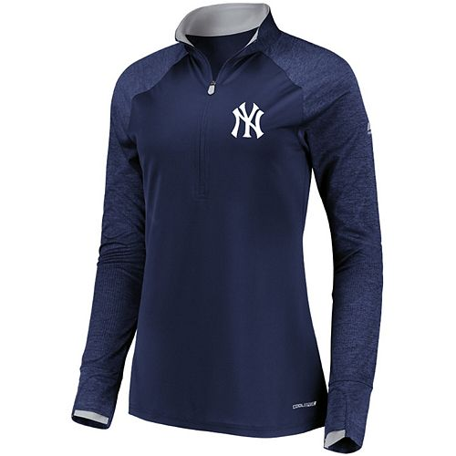 Women's Majestic Navy New York Yankees Extremely Clear Cool Base Raglan 1/2-Zip Jacket
