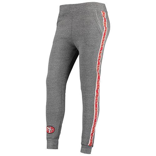 Women's Junk Food Heathered Gray San Francisco 49ers Sunday Liberty Tri-Blend Fleece Jogger Pants