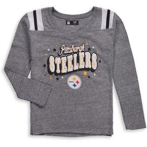Girls Youth New Era Heathered Gray Pittsburgh Steelers Starring Role Long Sleeve Tri-Blend V-Neck T-Shirt