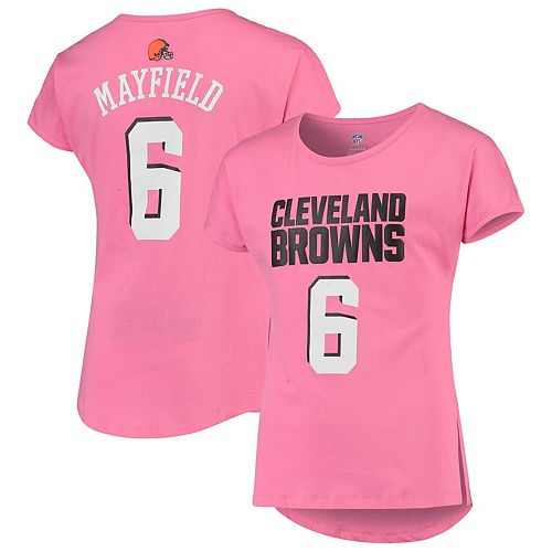 Girls Youth Baker Mayfield Pink Cleveland Browns Dolman Mainliner Name & Number T-Shirt