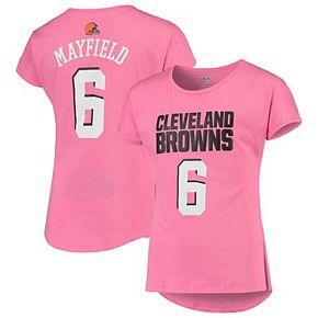 Girls Youth Baker Mayfield Pink Cleveland Browns Dolman Mainliner Name & Number T-Shirt
