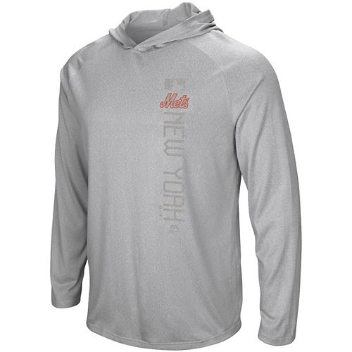 Men's Majestic Heathered Gray New York Mets Authentic Collection Ultra-Light Hooded Long Sleeve T-Shirt