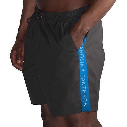 Men's G-III Sports by Carl Banks Black/Blue Carolina Panthers Volley Swim Trunks