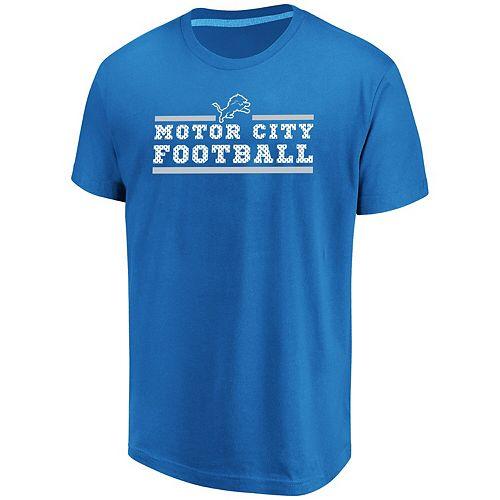 Men's Majestic Blue Detroit Lions Safety Blitz T-Shirt