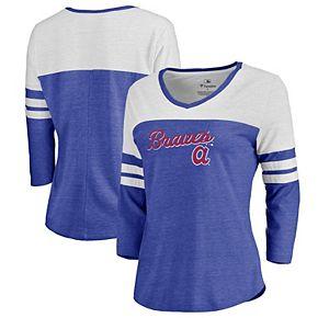 Women's Fanatics Branded Heathered Royal/White Atlanta Braves Rising Script Tri-Blend Raglan V-Neck 3/4-Sleeve T-Shirt