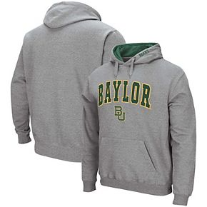Men's Colosseum Heathered Gray Baylor Bears Arch & Logo Pullover Hoodie