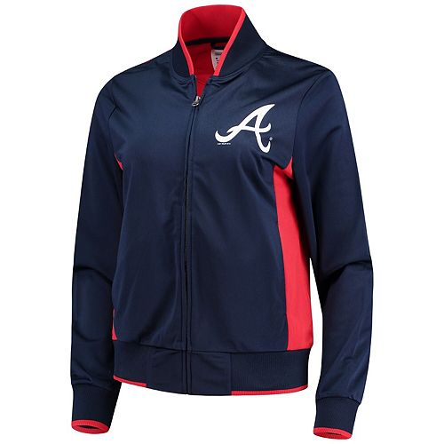 Women's G-III 4Her by Carl Banks Navy/Red Atlanta Braves Triple Track Jacket