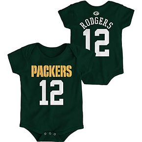 Infant Aaron Rodgers Green Green Bay Packers Mainliner Name and Number Bodysuit