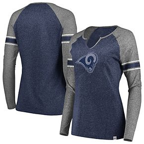 Women's Majestic Navy/Gray Los Angeles Rams Static Notch Neck Long Sleeve Raglan T-Shirt