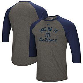 Men's Under Armour Heathered Gray/Navy New York Yankees Heritage Performance Tri-Blend Raglan 3/4-Sleeve T-Shirt