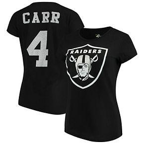 Women's G-III 4Her by Carl Banks Derek Carr Black Oakland Raiders Glitter Endzone Player Name & Number T-Shirt