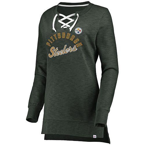 Women's Majestic Charcoal Pittsburgh Steelers Hyper Lace-Up Tunic Sweatshirt