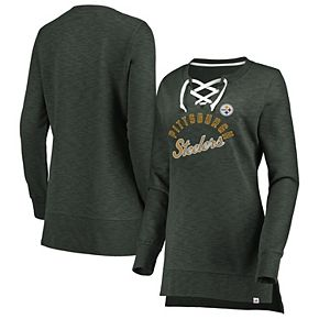 Women's Majestic Charcoal Pittsburgh Steelers Hyper Lace-Up Tunic Sweatshirt