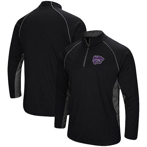 Men's Colosseum Black Kansas State Wildcats Quarter-Zip Windshirt
