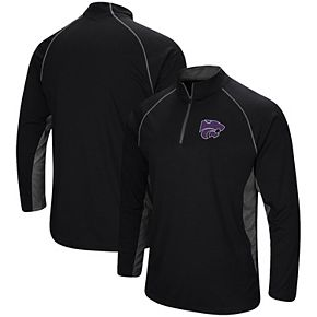 Men's Colosseum Black Kansas State Wildcats Quarter-Zip Windshirt