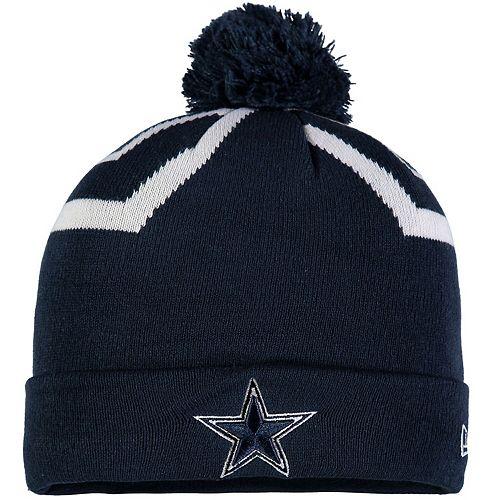Youth New Era Navy Dallas Cowboys Team Logo Whiz 3 Cuffed Knit Hat with Pom