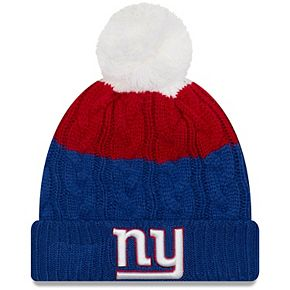 Women's New Era White/Royal New York Giants Layered Up 2 Cuffed Knit Hat with Pom
