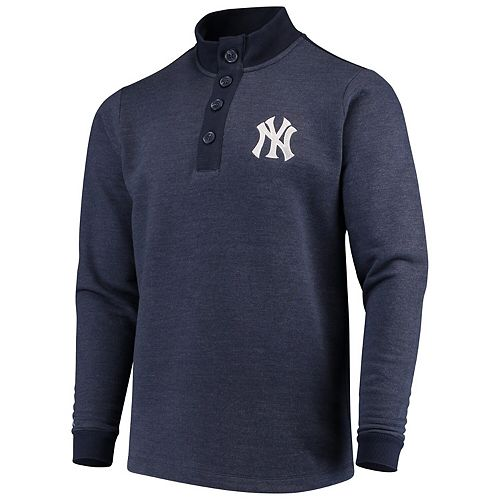 Men's Antigua Navy New York Yankees Pivotal Button Pullover Sweatshirt