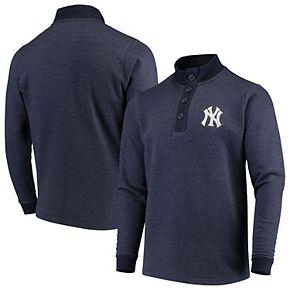 Men's Antigua Navy New York Yankees Pivotal Button Pullover Sweatshirt