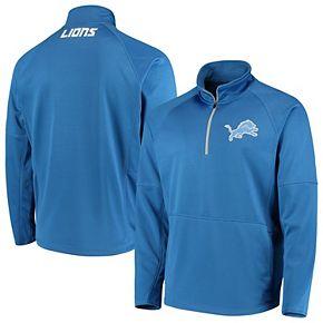 Men's G-III Sports by Carl Banks Blue Detroit Lions Challenge Microfleece Quarter-Zip Jacket