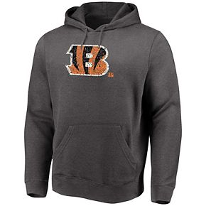 Men's Majestic Heathered Charcoal Cincinnati Bengals Big & Tall Line of Scrimmage Pullover Hoodie