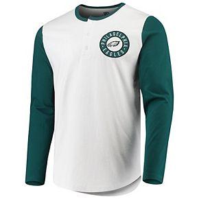 Men's G-III Sports by Carl Banks White/Midnight Green Philadelphia Eagles Tradition Henley Long Sleeve T-Shirt