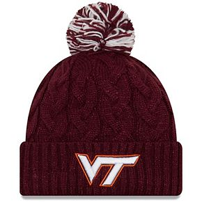 Women's New Era Maroon Virginia Tech Hokies Cozy Cable Cuffed Knit Hat with Pom