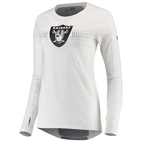 Women's Under Armour White Oakland Raiders Combine Authentic Dot Stripe Long Sleeve Favorites T-Shirt