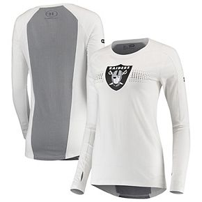 Women's Under Armour White Oakland Raiders Combine Authentic Dot Stripe Long Sleeve Favorites T-Shirt