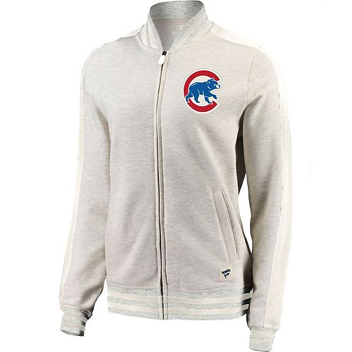 Women's Fanatics Branded Cream/White Chicago Cubs Heritage Primary Full-Zip Track Jacket